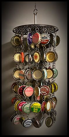 Upcycled vintage soda pop bottle cap windchime. Julie's Junktique (Etsy.com) at Candle Shed Effect.
