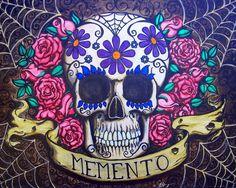 Memento Flowers by Shayne Dead Bohner Mexican Sugar Skull Spider Web Art Print Sugar Skull Painting, Sugar Skull Art, Sugar Skulls, Canvas Art Prints, Fine Art Prints, Day Of The Dead Art, Skull Wallpaper, Lowbrow Art, Colorful Drawings