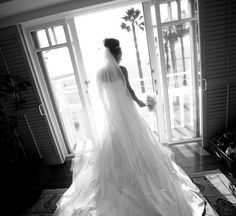 Show off your gown! A backlit photograph creates a stunning silhouette of this bride at Shutters on the Beach in Santa Monica.     #BeachWedding, #Wedding  http://www.davidmichaelphoto.com