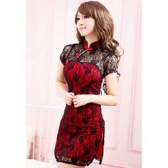 $18.33 Sexy Jag Floral Pattern Lace Cheongsam Set For Women