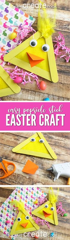 This Easy Popsicle Stick Craft will be the perfect project to make with your kids this Easter. via @CraftCreatCook1
