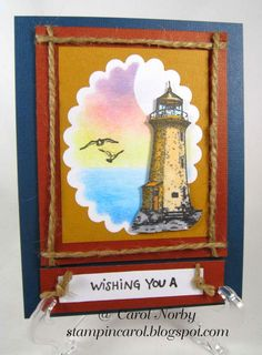 """Stampin Hot in Arizona: What? Wednesday Again? - featuring """"Lighthouse and Birds"""" stamp set from Red Rubber Designs www.RedRubberDesigns.com #redrubberdesigns #stamping #stamps #rubberstamps #lighthouseandbirds"""