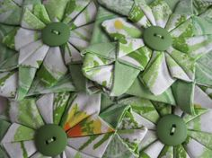 Four Fabric Folded Origamin Flower by butterflyplace on Etsy, $6.00