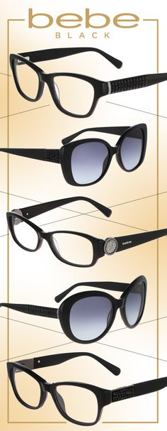 Get Glam in bebe Black Specs + Shades