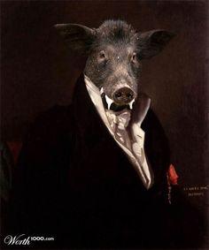 Anthropomorphic boar portrait - Animal Renaissance 8 - Worth1000 Contests