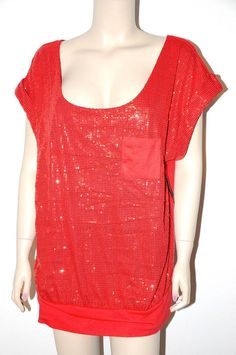 Sexy Red SEquin Cut-out strappy back blouson Style Glam Party Holiday Top 3X NEW #FG #Blouse #EveningOccasion