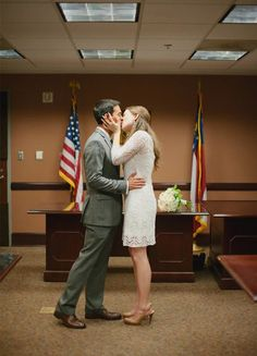 Katie and Rodney's $1,500 Courthouse wedding captured beautifully by Laura Fulmer Photography. See more...www.intimateweddings.com/blog #courthousewedding