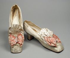1870s, France - Pair of Woman's Slippers (Wedding?) - Silk satin, sueded leather, linen, brocaded silk, metal