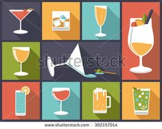 Alcoholic drinks vector illustration. Horizontal flat design illustration with various alcoholic drinks and cocktails - stock vector