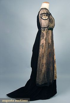 Augusta Auctions, April 2006 Vintage Clothing & Textile Auction, Lot 673: Velvet Evening Gown, C. 1912