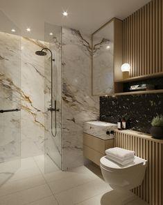 marmor cremefarbe adern dusche glas badezimmer armaturen schwarz