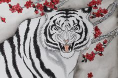 Queria hacer un tigre blanco con un aire oriental. I wanted to do, a tiger with an oriental flavor White Tiger of the West Tiger Painting, Chinese Mythology, Canvas Prints, Art Prints, Drawing Practice, God Of War, Photo Canvas, Deviantart