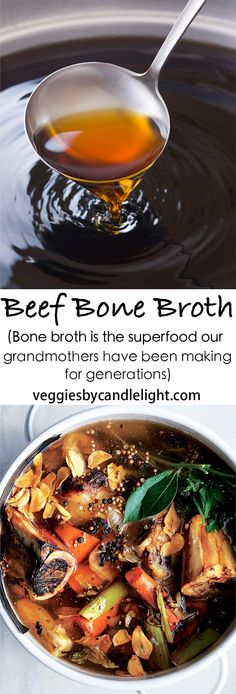 Beef Bone Broth Beef Bone Broth - From a healthy gut, to radiant skin, hair, and nails, bone broth is the superfood our grandmothers have been making for generations Beef Recipes, Soup Recipes, Cooking Recipes, Healthy Recipes, Recipies, Paleo, Keto, Sante Bio, Coconut Dessert