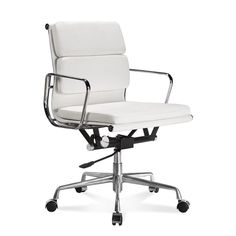 Eames Office Chair Low Back Soft Pad White Leather - Eames low back soft pad chair was specially designed for office use. The chair has evolved over the years since when the Charles Eames designed an iconic model for office chair.