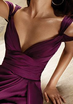 Beautiful plum purple with off the shoulder strap