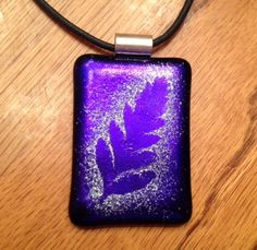 Stenciled Leaf Fused Dichroic Glass Pendant | GlassiqueCreations - Jewelry on ArtFire