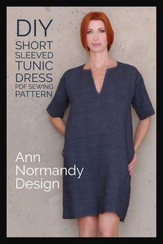 This PDF, digital download Short Sleeved Tunic Dress sewing pattern will help you create the perfect classic year round, loose fitting dress to round out your wardrobe. Classic tunic styling for any size, the short sleeved dress has square and v-neck and