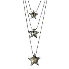 @Overstock - Glam inspired, this three string stacked star necklace, with 24 inch, 28 inch and a 33 inch 1.6 mm ball chains, is completely lovely. In rhodium-plated base metal, this is an in vogue vintage design with yellow and white glass stones.http://www.overstock.com/Jewelry-Watches/Journee-Collection-Rhodium-plated-Yellow-Glass-Stone-Star-Necklace/7123272/product.html?CID=214117 CAD              24.07