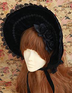 Handmade Black Rose Bow Velvet Classic Lolita Bonnet