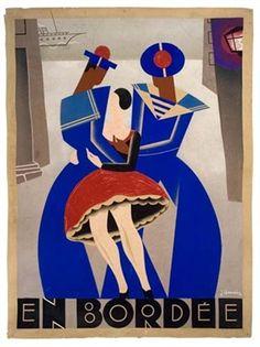 En Bordée (poster design) par Jean Chassaing Art Deco Print, Frosted Flakes, Box, Poster, Design, Snare Drum, Billboard