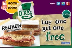 BOGO Deal on this St. Patrick's Day: Print this Buy 1 Reuben Sandwich And Get One Free at Arby's! (www.couponcup.net for more free deals and subscribe & like us)