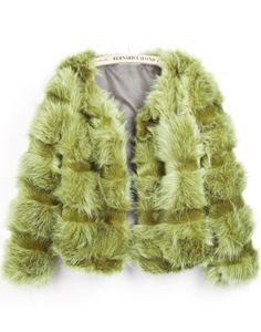 BEST FASHION SITE, Green Long Sleeve Crop Faux Fur Coat US$64.02