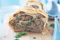 """""""Fleischstrudel"""" - Similar to the Palatschinken the Strudel comes in a savory form as well - typically with Spinach or minced meat. The meat version can also be put in broth and served as a soup."""