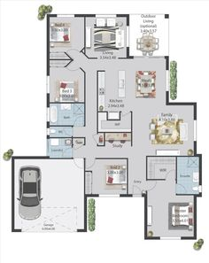 The Toorak home plan suits Numurkah families, with galley kitchen and walk-in pantry, open-plan living, study, double garage & optional outdoor living area. Double Garage, Homesteads, Outdoor Living Areas, Guest Suite, Walk In Pantry, Open Plan Living, First Home, Home And Living, Innovation