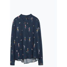 Zara Shirt With Side Detail (€38) ❤ liked on Polyvore featuring tops, navy blue, navy blue shirt, zara shirt, navy shirt, navy blue tops and blue top