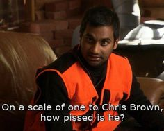 """""""On a scale of one to Chris Brown, how pissed is he?"""" Parks & Rec....favorite line ever!"""