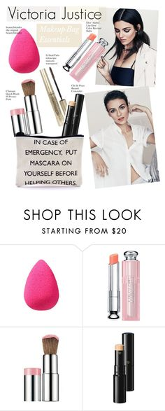 """""""Victoria Justice-Makeup-Bag Essentials"""" by kusja ❤ liked on Polyvore featuring beauty, beautyblender, Christian Dior, Clinique, Clé de Peau Beauté, Beauty, victoriajustice and beautyproducts"""