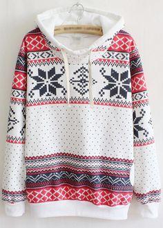 Woman Essential Long Sleeve Hooded Collar Printed Sweats - USD $23.49
