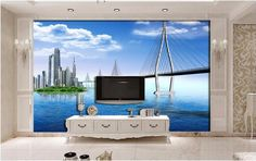 3d room wallpaper custom photo Blue sky and white sea city bridge scenery decor painting 3d wall mural wallpaper for walls 3 d #Affiliate