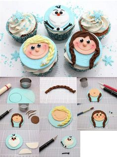 I got this from a friend of mine…. Cupcakes Frozen, Frozen Cupcake Toppers, Kid Cupcakes, Fondant Cupcake Toppers, Frozen Cake, Baking Cupcakes, Cupcake Party, Cupcake Cookies, Frozen Birthday Party