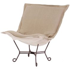 Howard Elliott Prairie Linen Natural Scroll Puff Chair with Mahogany Frame
