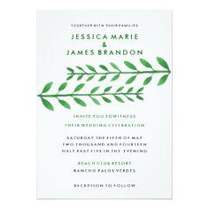 "Leafy Branches Green Garden Wedding Invitation 5"" X 7"" Invitation Card"