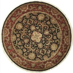 NEW CONTEMPORARY INDIAN JAIPUR AREA RUG 53168 - AREA RUG  This beautiful Handmade Knotted Round rug is approximately 8 x 8 New Contemporary area rug from our large collection of handmade area rugs with Indian Jaipur style from India with Wool