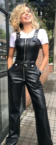 Sexy Lady wearing sleek Leather Dungarees