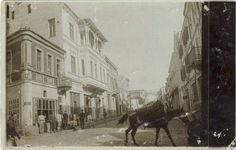 The Main Street (Sirok Sokak) view from north – photo postcard in September 1916 sent to the town of Lom, Bulgaria.