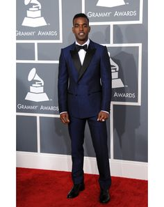 Love this navy tux on Luke James. Perfect for a Groom with some personality