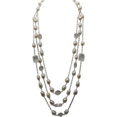 AAA PEARL 7.5-9mm White Rice Freshwater Cultured Pearl Triple-Strand Necklace