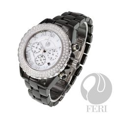 """Ashton Mens Watches - C$2,673 - Hi-tech ceramic construction - Chronograph - Cubic zirconia face - Silver roman numerals - Sapphire crystal glass - Provides 330 feet of water resistance - Scratch resistant - Stays closed with a butterfly clasp - 3 year limited manufacturer warranty - Band Length: 6"""" - Extra links available #mens watches #watches for men #luxury watches"""