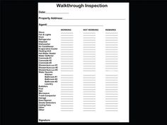 Checklist for Property Inspection Walkthrough. Another great list can be found here: http://housing.ucsc.edu/cro/pdf/condition-checklist.pdf