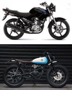 Vintage Motorcycles Antes e depois - Pogobol - Yamaha - Yamaha 125, Yamaha Cafe Racer, Moto Cafe, Café Racer 125, Cg 125 Cafe Racer, Motos Kawasaki, Suzuki Motos, Tracker Motorcycle, Cafe Racer Motorcycle