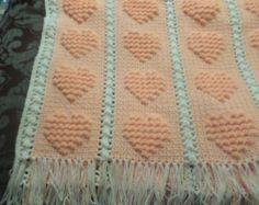 Crochet Baby Blanket/Afghan, Peach, Heart Pattern - READY TO SHIP