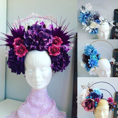 Diadem as decoradas Mardi Gras Costumes, Diy Costumes, Cosplay Costumes, Flower Headdress, Floral Headpiece, Fascinator Headband, Fascinators, Headpieces, Holiday Hats