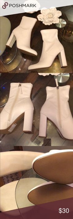White stretch boots, never worn! White boots, inside zip, dress up or with a casual outfit! Size 9 never worn! Madden Girl Shoes Ankle Boots & Booties