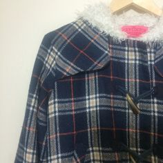 SALEJuicy Couture Navy Plaid Jacket ACCEPTING OFFERS!! No low BALLERS. Please read thoroughly before making purchase, offers or comments!!! No trades. Pre-owned. Used but good condition. No stains. Some pilling and very light discoloration to Sherpa due to washing which is normal. Missing second button on one sleeve but still buttons with first. See bottom left pic. Not faded, lighting is just bright. Cute with leggings or jeans and Flats/heels. Retail $200. Make me an offer. Find on…