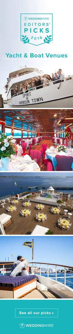 Editors' Yacht & Boat Wedding Venue Picks - Explore our Editors' top unique yacht & boat wedding venues perfect for a summer or outdoor wedding on @weddingwire! {Vagabond Cruise, The Point at Pintail, The Queen Mary, Charles Riverboat Co. & Cruise Boston Yacht Charters}