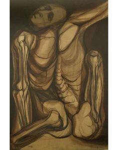 Job III, torso grande, 1962, acrílico de Arnold Belkin. La obra pertenece al patrimonio universitario UNAM  Foto Cortesía del Museo del Chopo